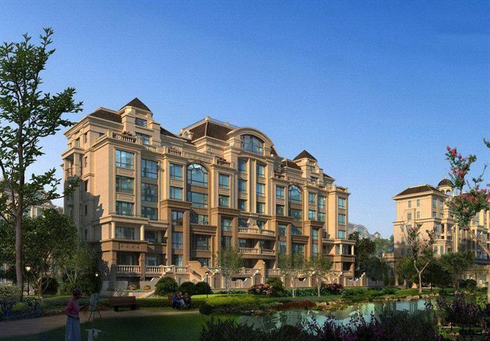 法式小高层洋房公寓建筑设计方案su模型(带效果图)