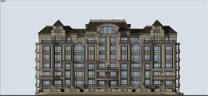 法式小高層洋房公寓建筑設計方案su模型,該模型設計精細,細節處理得當,材質處理較好,風格是歐陸式風格,周圍景觀也做了粗略的處理,是很好的公寓建筑設計方案參考作品。