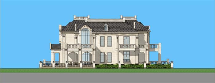 简约法式大独栋别墅建筑设计方案侧立面图(4)