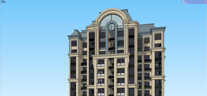 法式风格高层住宅公寓建筑设计方案su模型[原创]图片