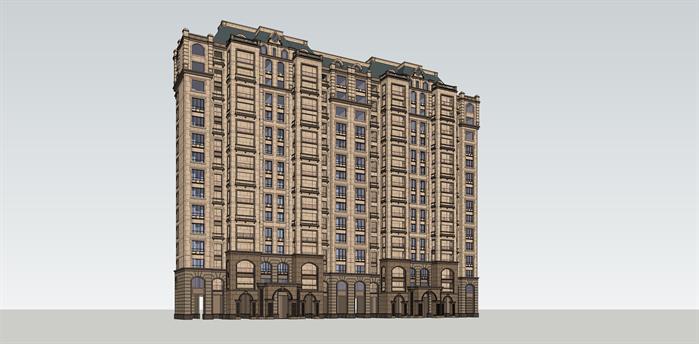 法式高层公寓建筑设计方案效果图 1