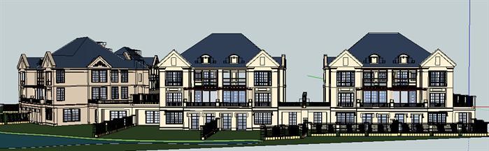 法式5拼联排别墅建筑设计方案正视图(4)