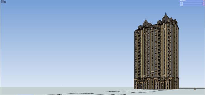 法式小高层公寓楼建筑设计su精致模型[原创]