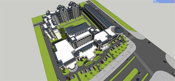 法式酒店 商业 住宅综合体建筑设计方案鸟瞰图(1)