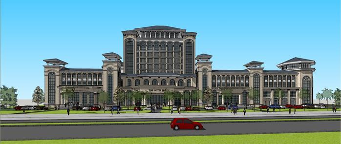 法式酒店 商业 住宅综合体建筑设计方案局部效果图