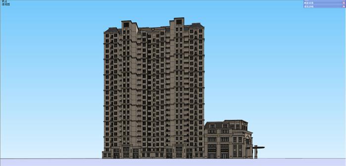 法式商业裙房 高层住宅建筑设计方案效果图(3)