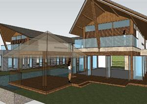 海南某东南亚风格别墅建筑设计方案+户型分析+SU(草图大师)模型