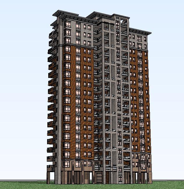 某欧式风格高层住宅建筑设计方案图( su模型)[原创]