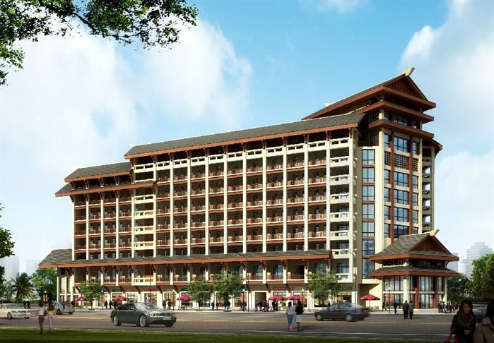 某现代中式风格酒店建筑设计方案[原创]图片