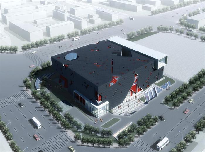 某科技展览馆建筑设计方案图 su模型(2)