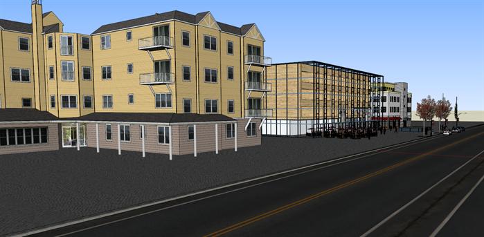 某沿街英式商业街建筑设计方案su模型