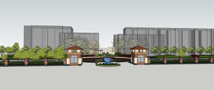 居住區入口景觀設計方案局部效果圖(1)