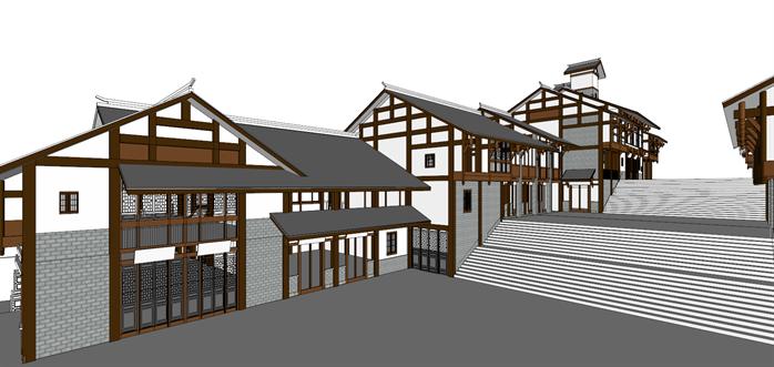 某川东风格小商业街建筑设计方案效果图 2