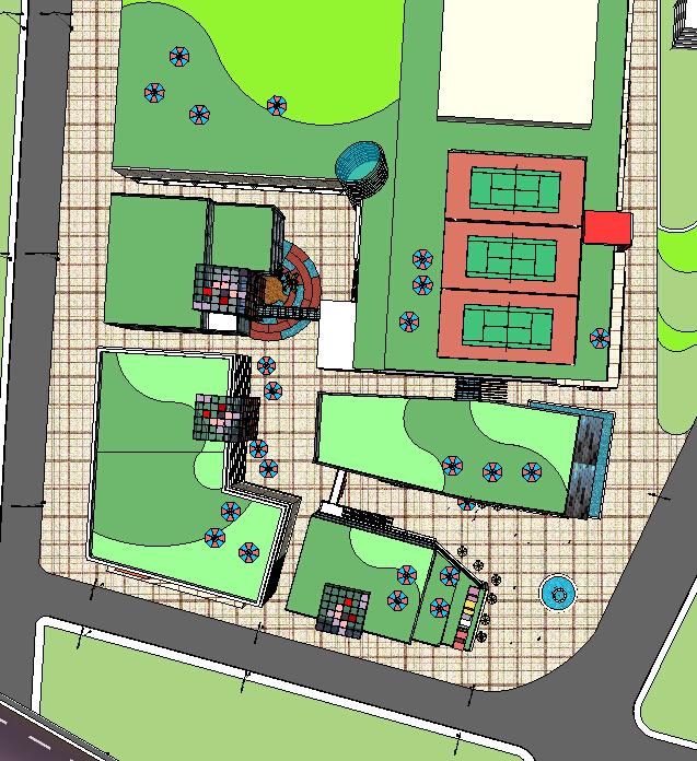 城市商业娱乐广场建筑设计方案顶视图(3)