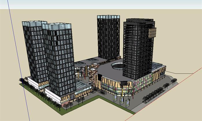某商业综合体建筑方案设计su模型1