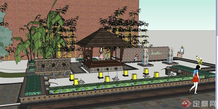某东南亚风格步行街入口景观SU模型 带项目方案文本