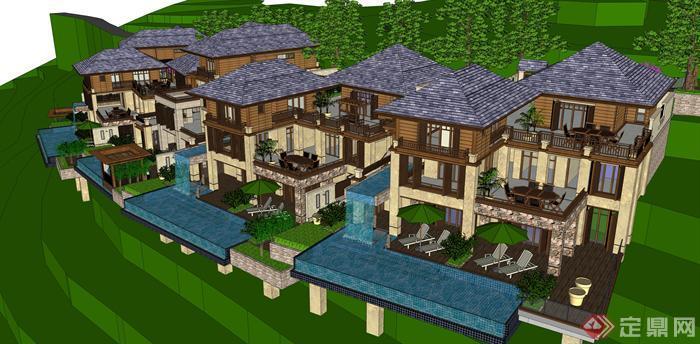 某东南亚风格坡地度假别墅建筑方案设计SU模型 含景观