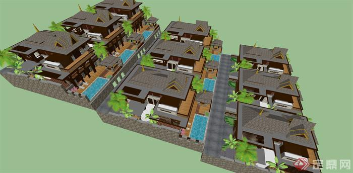 某东南亚风格坡地联排别墅群建筑方案设计su模型视角1