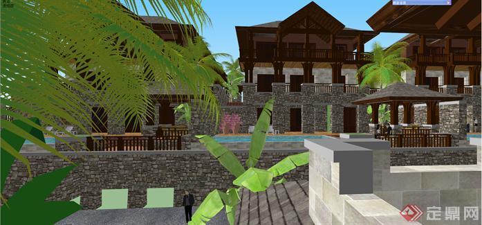 某东南亚风格坡地联排别墅群建筑方案设计su模型视角5