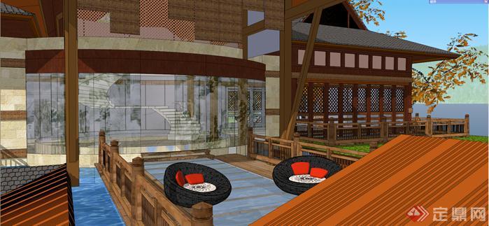 某东南亚风格小岛度假别墅建筑方案设计SU模型 含景观