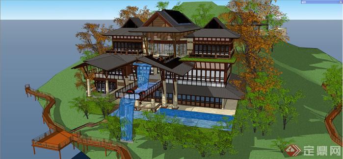 某东南亚风格小岛度假会所建筑方案设计su模型视角3