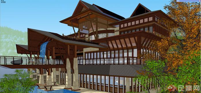 某东南亚风格小岛度假别墅建筑方案设计su模型