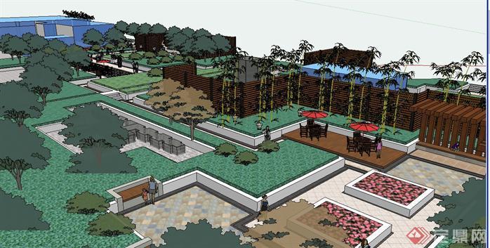 某现代风格屋顶花园景观设计方案su模型[原创]