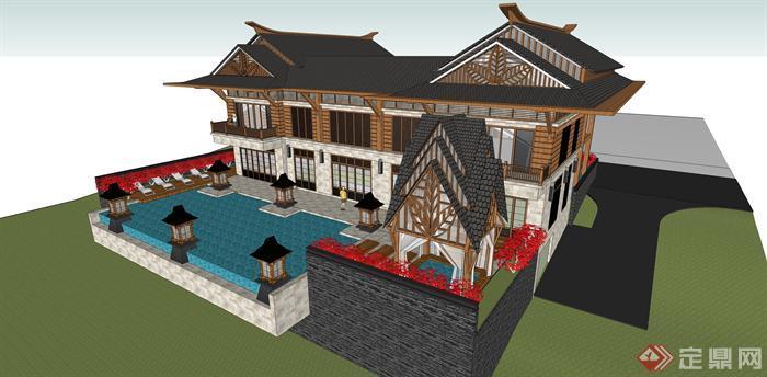 某东南亚风格酒店度假别墅建筑方案设计su模型视角1