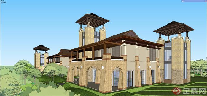 某东南亚风格高尔夫会所建筑方案设计SU模型