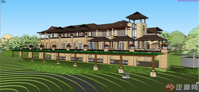 某东南亚风格高尔夫会所建筑方案设计su模型视角3