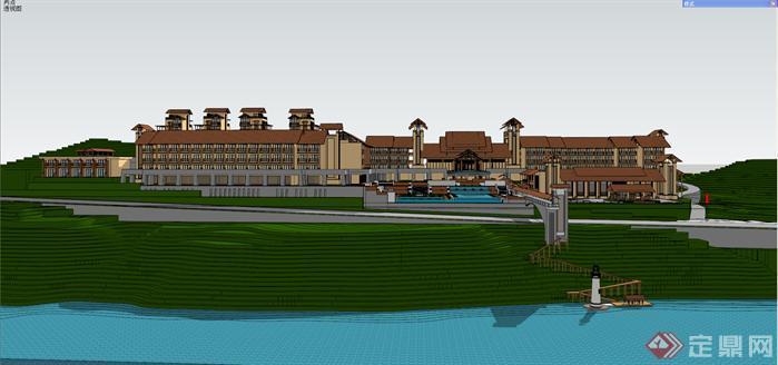 某东南亚风格山地度假酒店建筑方案设计SU模型