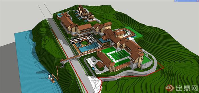 某东南亚风格山地度假酒店建筑方案设计su模3