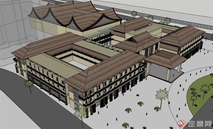 某东南亚度假酒店建筑方案设计SU模型
