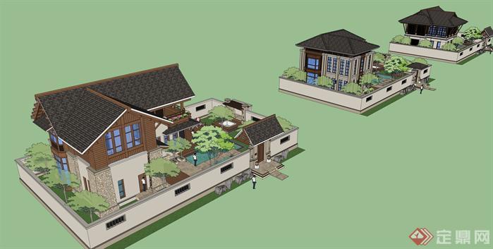 某东南亚小花园别墅建筑方案设计su模型[原创]
