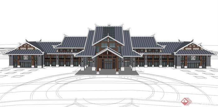 某东南亚风格游客接待中心建筑方案设计su模型视角2