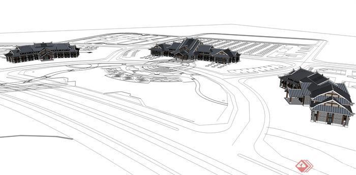 某东南亚风格游客接待中心建筑方案设计su模型视角3