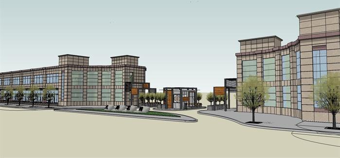 某现代风格法院大门建筑su设计方案模型(1)