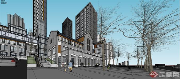 中式商业街建筑设计方案效果图(1)