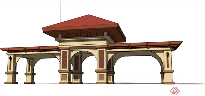 > 某小区入口大门建筑方案设计su模型,大门设计的比较简洁,风格现代