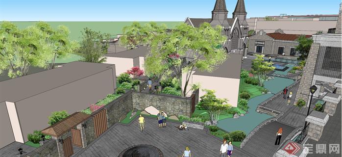 某民国风格老镇水街景观规划设计su模型[原创]