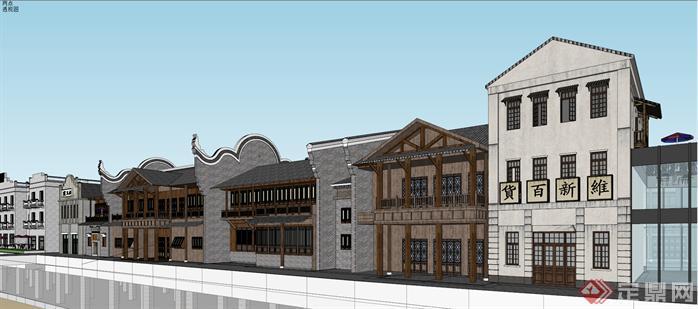 某民国风格汉口里商业街景观规划设计su模型