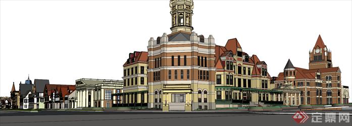 某欧式商业街区建筑设计方案su模型,该模型设计精细,细节处理得当,材质处理较好,风格是欧陆式风格,周围景观也做了粗略的处理,是很好的商业街建筑设计方案参考作品。