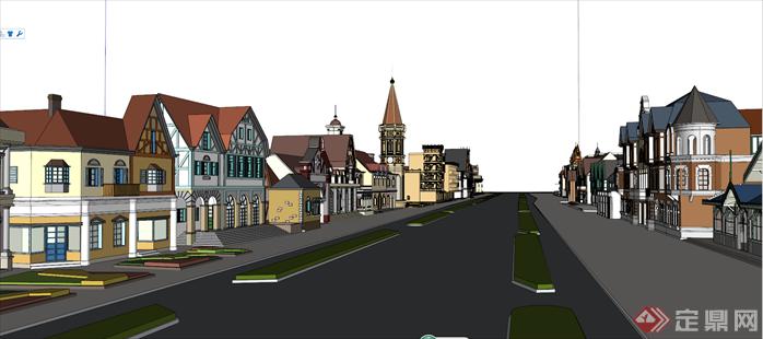 某欧式商业街区建筑设计方案效果图(3)