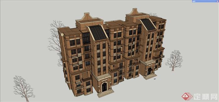 某石库门海派风格小高层建筑设计方案效果图 2