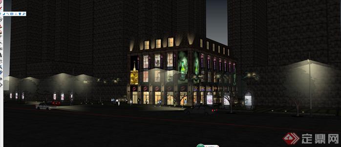 某欧式商业综合体建筑设计方案夜景效果图 2