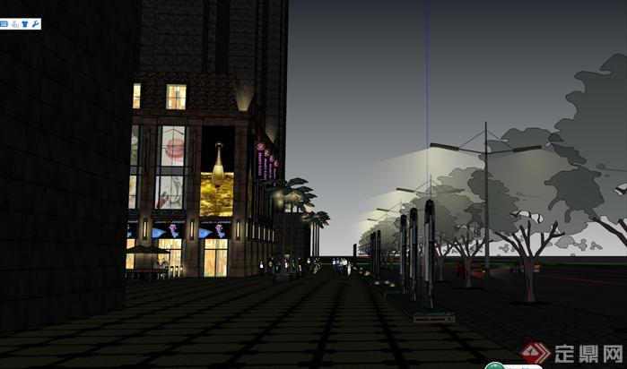 某欧式商业综合体建筑设计方案夜景效果图(3)