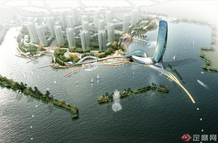 青岛某公建高层酒店 商业住宅建筑设计方案 含CAD图和jpg效果图