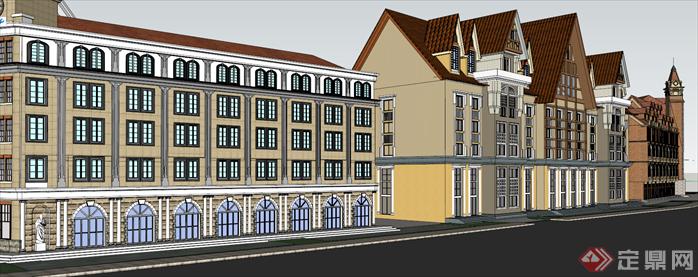 某欧式街道建筑设计su模型[原创]