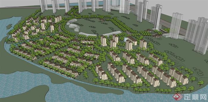 某居住区建筑设计方案鸟瞰图(4)