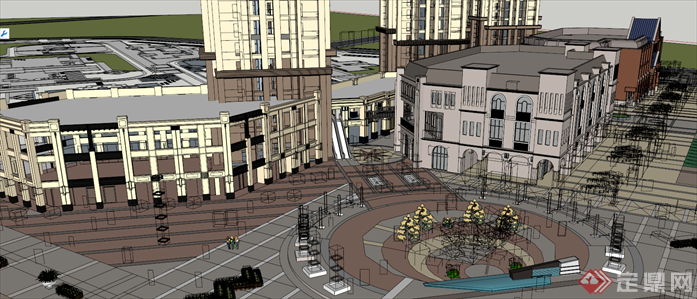 某欧式小区及商业综合体建筑设计效果图(1)